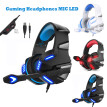 3.5mm Wired Gaming Headset Stereo Surround LED MIC Headphones for PC Laptop PS5 Slim Xbox One