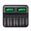 8 Slots AA AAA Charger C D Batteries Rechargeable Battery, Multifunctional