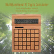Multifunctional Bamboo Electronic Calculator Counter 12 Digits Solar & Battery Dual Powered for Home Office School Retail Store