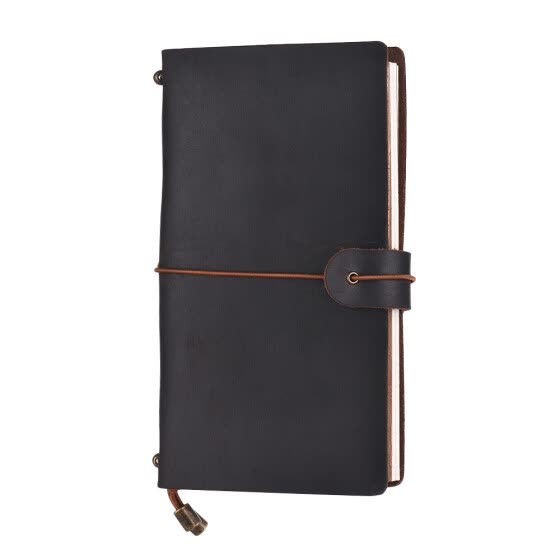 Refillable Leather Journal Travel Notebook Diary Business Notepad Card Holder Lined Blank Grid Paper with Elastic Strap for Men &