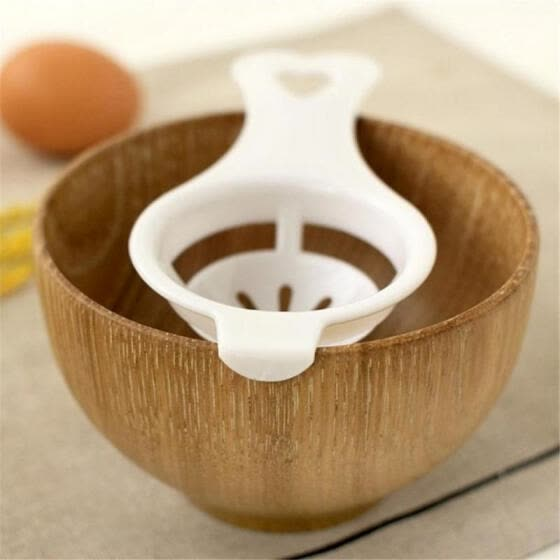 White Egg Yolk Separator Tool Easy Cooking White Sieve Plastic Kitchen Gadget