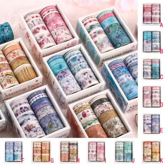10Pcs/pack Exquisite Tape Set Petal Flower Sky Sea Paper Masking Tape Washi Tape