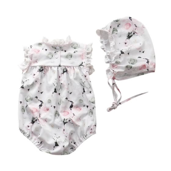 Baby Girls Jumpsuits Summer Lace Sleeveless Floral Print Bow Rompers Size 0-12M