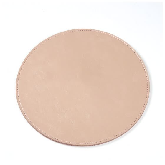 Home Office Round Shape Solid PU Leather Non Slip Mouse Pad Waterproof Gaming