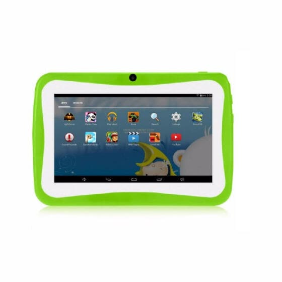 Q768 7 inch Kids Tablet Educational Learning Computer 1024*600 Resolution WiFi Connection with Silicone Case Green US Plug