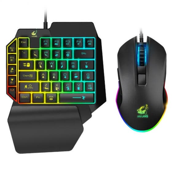 Ergonomic Mobile Phone LED Backlight One-Handed Wired Mouse Gaming Keyboard Set