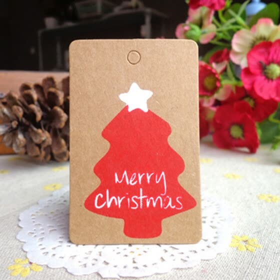 Strings New 50Pcs Christmas Kraft Paper Gift Tags Scallop Label Luggage Blank