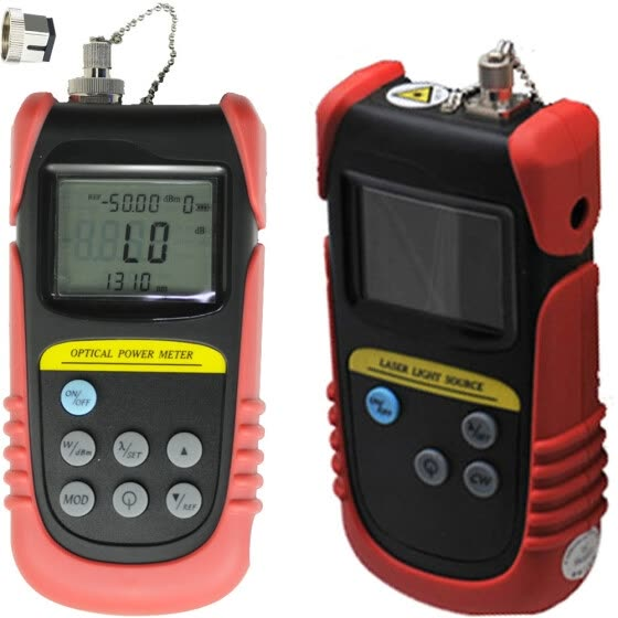 Optical Power Meter(-50dB to +26dB), fiber optic power meter + 850nm,1300nm Wavelength Optical Laser Source