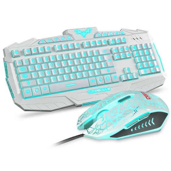 Game keyboard and mouse kit three - color backlit keyboard and mouse set