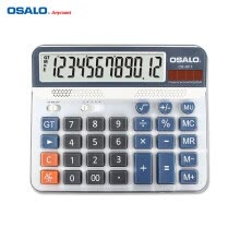 calculators-OSALO OS-6815 Desktop Electric Calculator Counter ABS 12-digit LCD Display Solar & Battery Power Source for Home Office School on JD