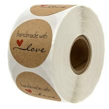 paper-products-1 Inch Round Natural Kraft Baked With Love Stickers / 500 Labels Per Roll on JD