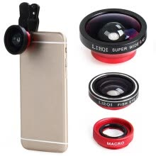 other-parts-LIEQI LQ - 003 Mobile Phone 3 in 1 Fish Eye Macro 0.4X Super Wide Angle Clip-on Lens  Detachable lens   140 degree wide angle on JD
