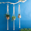 Flower Baskets Garden Decoration Green Plant Hanging Basket Manually Knitted Rope Hemp Rope Flowers Green
