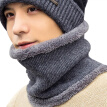 Men Winter Wool Beanie Scarf Multifunction Warm Knitted Hat Windproof Outdoor Cycling Two Piece