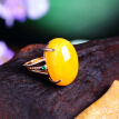 Bluelans Vintage Oval Faux Amber Women's Finger Jewelry Wedding Bridal Open Ring Gift