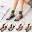 Sexy Women Transparent Ultra-thin Shining Anti-slip Elastic Middle Tube Socks