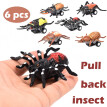 6pcs Mini Vehicle Insect Pull Back Cars with Tire Wheel Creative Gifts for Kids