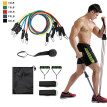 11pcs / Set Natural Rubber Latex Fitness Re sistance Bands Exercise Elastic Pul