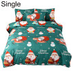 2/3Pcs Merry Christmas Santa Snowman Soft Quilt Cover Pillow Case Bedding Set