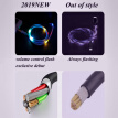 W_Colorful Volume Control Data Cable LED Light Flash Cable Charging Cable for iphone Lightning Interface/ Android USB//Type-C