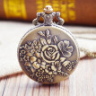 Vintage Flower Pocket Watch Quartz Necklace Chain Men Women For Girls Gifts