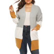 Large Size Women Cardigan Sweater Loose Knit Mid long Sleeve Strip Gray Coat
