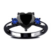 Fashion Couple Ring Stainless Steel Men Ring Blue Sapphire Women Wedding Ring Jewelry Anniversary Ring