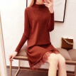 Autumn Winter New Lace Patchwork Solid Color Dress Fashion Sweet Turtleneck Long Sleeve Women Knit Dress!
