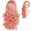 Amazing Star Fashion Orange Pink Lace Wig Long Natural Wavy Synthetic Lace Wigs For Women Hand Tied Heat Resistant 22 Inch