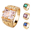 Bluelans Luxury Men Square Cubic Zirconia Rhinestone Finger Ring Wedding Jewelry Gift