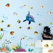 Bathroom Kitchen Wall Sticker Waterproof Ocean Underwater Sea Home Decor Window Stickers Dolphin Fish Decal Mural Kids Room