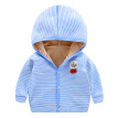 Autumn Baby Girl Boy Outerwear Thicken Velvet Outfits Tops Striped Pattern Casual Long Sleeve Hoodie Coat