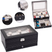 12 Slots Watch Box Mens Watch Organizer Lockable Jewelry Display Case with Real Glass Top Faux Leather Black