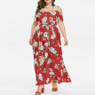 〖Follure〗Plus Size Women's Plus Size Casual Bohemian Strapless Strap Waist Split Long Dress
