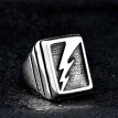 Lightning Pattern Titanium Steel Geometric Square Rings Big Wide Mens Signet Vintage Punk Ring Male Jewelry Silver Color