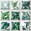 Polyester Green Leaves Pillow Case Cover Sofa Waist Cushion Cover Home Decor UK