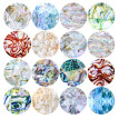Nomeni 16Pcs/Set Holographic Nail Transfer Stickers Gradient Marble Nail Foils DIY Tips