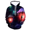 (Toponeto) Men's 3D Printed Jacket Long Sleeve Hooded New Style Coat Hoodie Blouse Tops