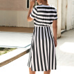 T-Shirt Round Neck Dress Loose Striped Short-Sleeved Temperament Commute Summer New Wine Red black Army Green Blue Navy Blue