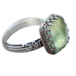 Bluelans Vintage Women Rectangle Faux Emerald Gemstone Inlaid Finger Ring Jewelry Gift