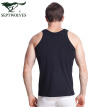 Seven wolves vest men's summer cotton thin section solid color casual sports stretch Slim I-shirt single piece black L