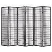 "Folding 6-Panel Room Divider Japanese Style 94.5""x66.9"" Black"
