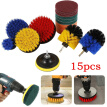 15Pcs/set Power Scrubber Cleaning Kit Round Head Ball Brush Cleaning Disc Tool Hair Cleaning Brush Electric Disc