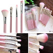 7Pcs Pro Pink Handle Face Lip Eye Shadow Eyeliner Cosmetic Tool Makeup Brush Set