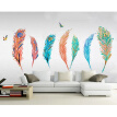 Newest DIY Self-Adhesive Colorful Feather Wall Decor Stickers Removable Decals Transfer For Bedroom Living Room Background