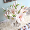 3 Piece Vivid Magnolia Artificial Flowers Home Decor Lovely Simulation Flower Table Display Wedding Party Bridal Bouquet