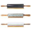 Rolling Pin with Marble Roller Solid Wood Base Home Kitchen Utensils Baking Tool