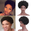 By Synthetic Short Afro Curly Black Wig Pixie Cut Wig for Women with a Free Wig Cap