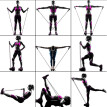 11pcs / Set Natural Rubber Latex Fitness Resistance Bands Exercise Elastic Pul
