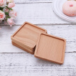 4 Pcs Coasters Square Solid Wood Eco-friendly Coffee Mug Mat Insulation Mat Stackable Pad for Home Bar Restaurant Kitchen